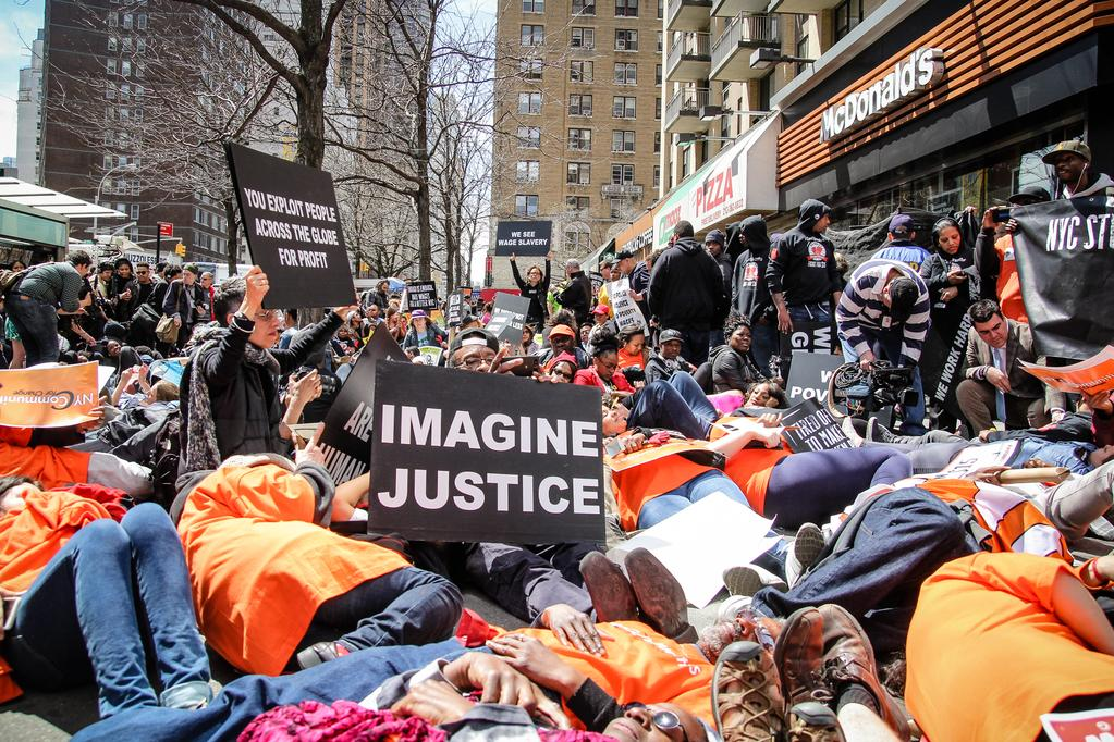 Students stage a die-in demanding racial and economic justice I Photo: Jenna Pope