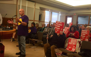 Fired Delta baggage handler, labor and 15 Now organizer Kip Hedges addressed the MAC.