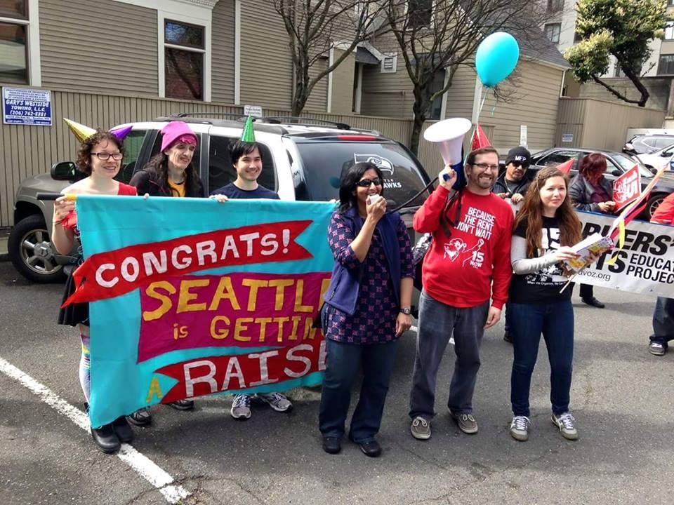 Socialist City Councilmember Kshama Sawant congratulates the movement for winning $15